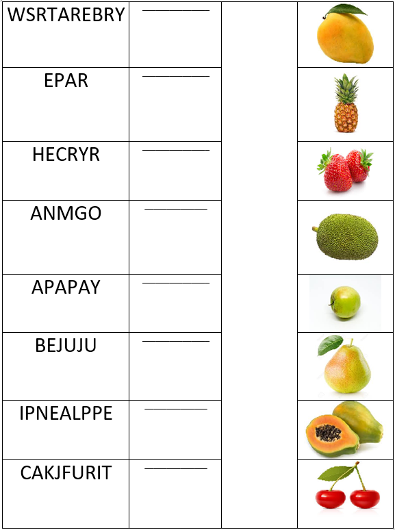 match the fruits with their names